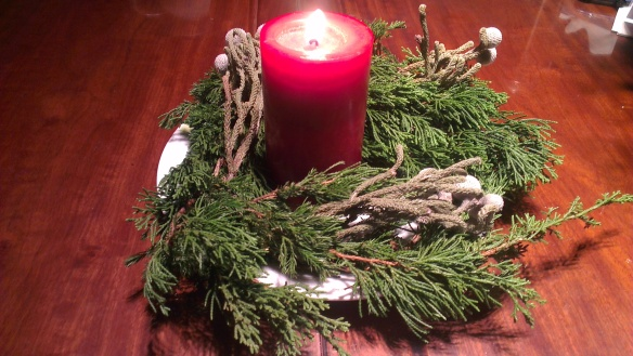 My super homemade advent candle, adorned with tree twigs that were about to be thrown out.