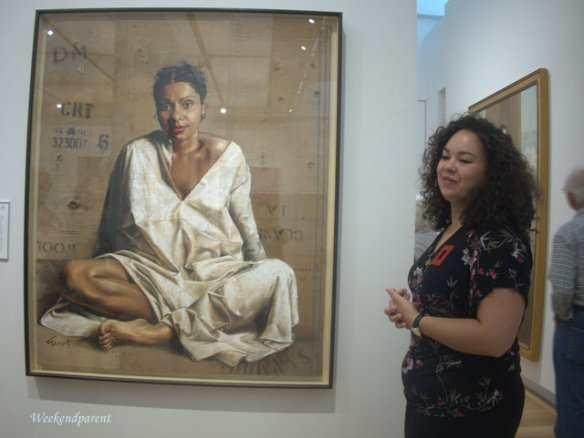 Our guide Tamsen tells us about the Deborah Mailman portrait