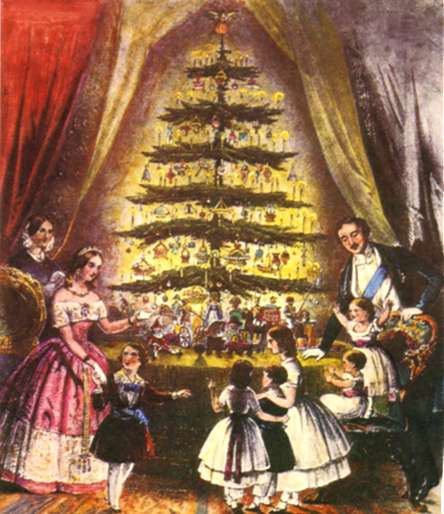 Early postcard of Queen Victoria, Albert and children around a Christmas tree