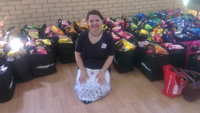Me with just some of the nearly 500 food hampers