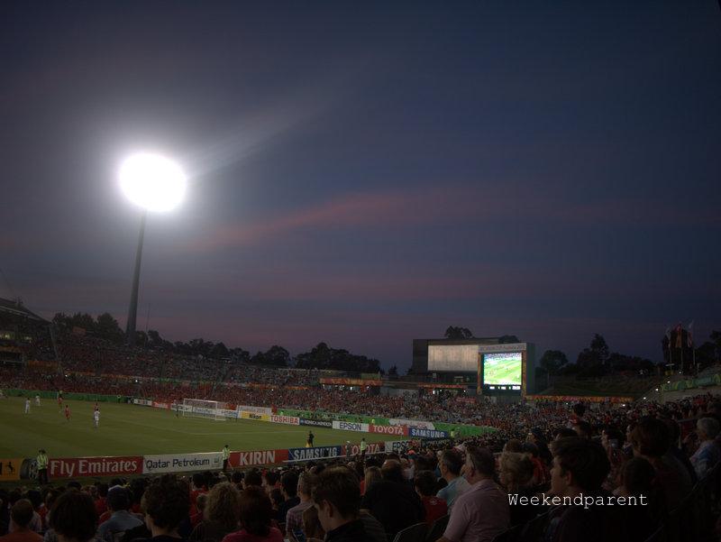 Canberra stadium at sunset