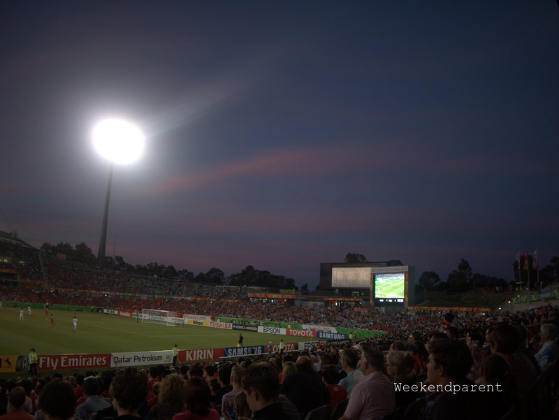Canberra stadium at sunset