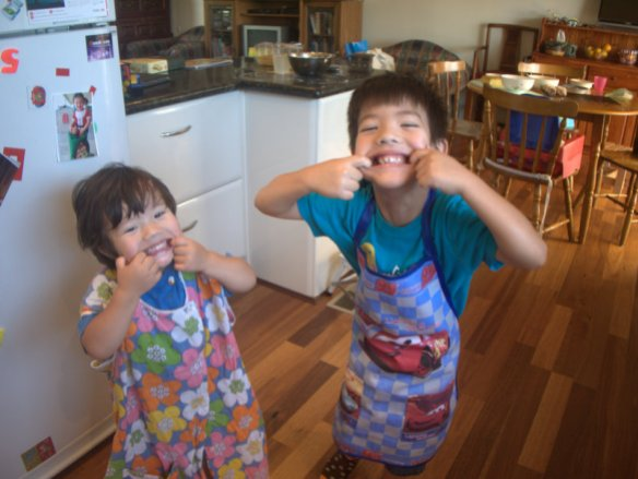 Big A and Little A having fun in the kitchen