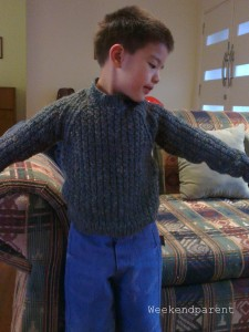Thankfully the sleeves are long enough, and despite his recent growth spurt, Big A can still fit into this jumper.