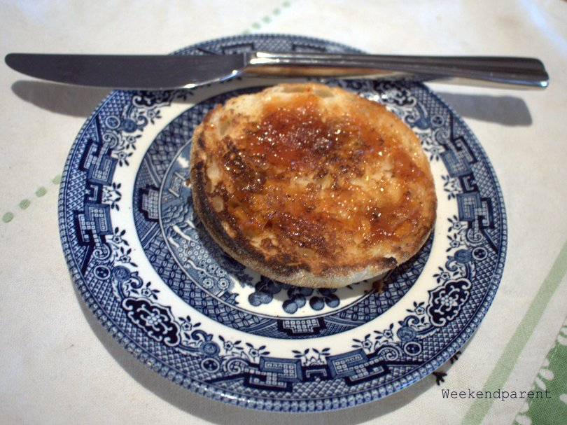 Persimmon jam on an English muffin