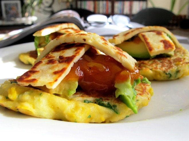 Corn fritters served with avocado, tomato relish and friend haloumi strips