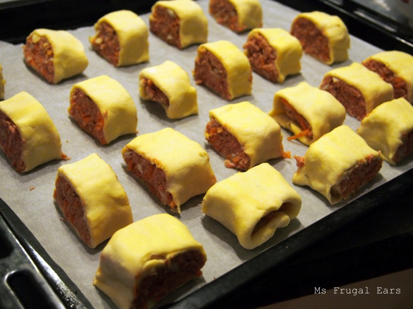 Sausage rolls about to go into the oven