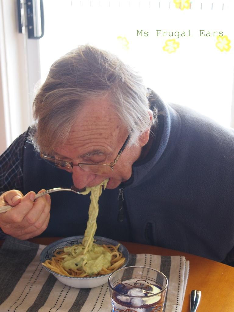Eating avocado spaghetti