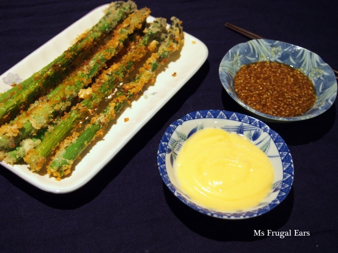 Asparagus with two dipping sauces