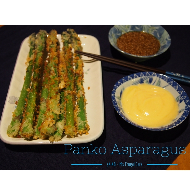 Panko asparagus with two Asian dipping sauces