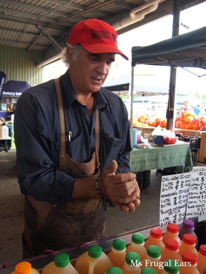 Mick selling orange juice