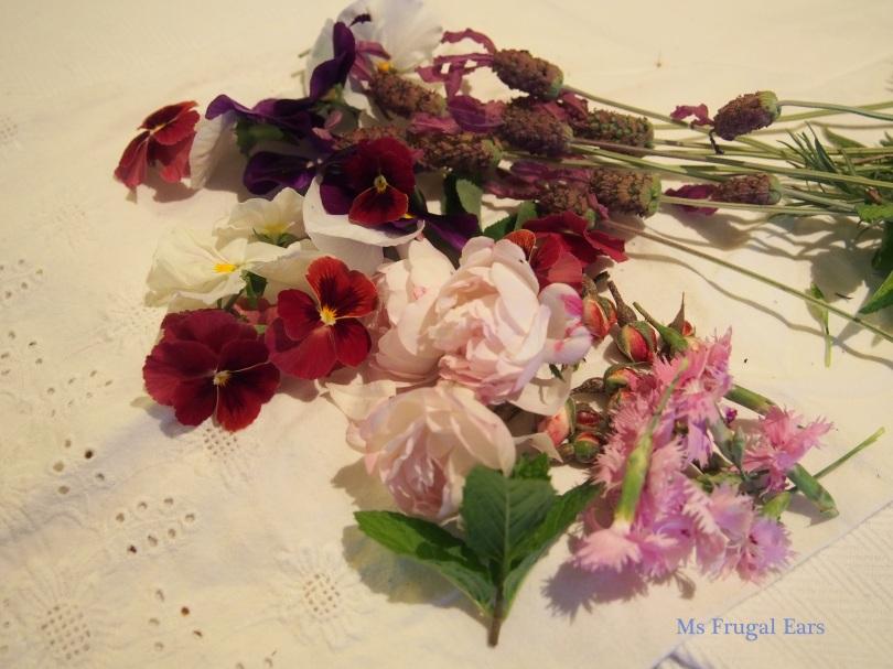 lavendar, pansies, roses and dianthus