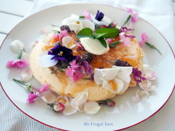 Pancakes decorated in flowers