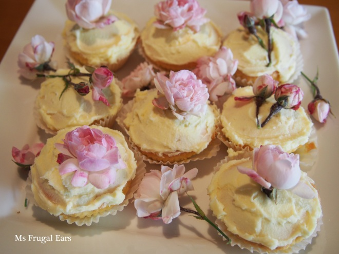 Pink rose fairy cakes