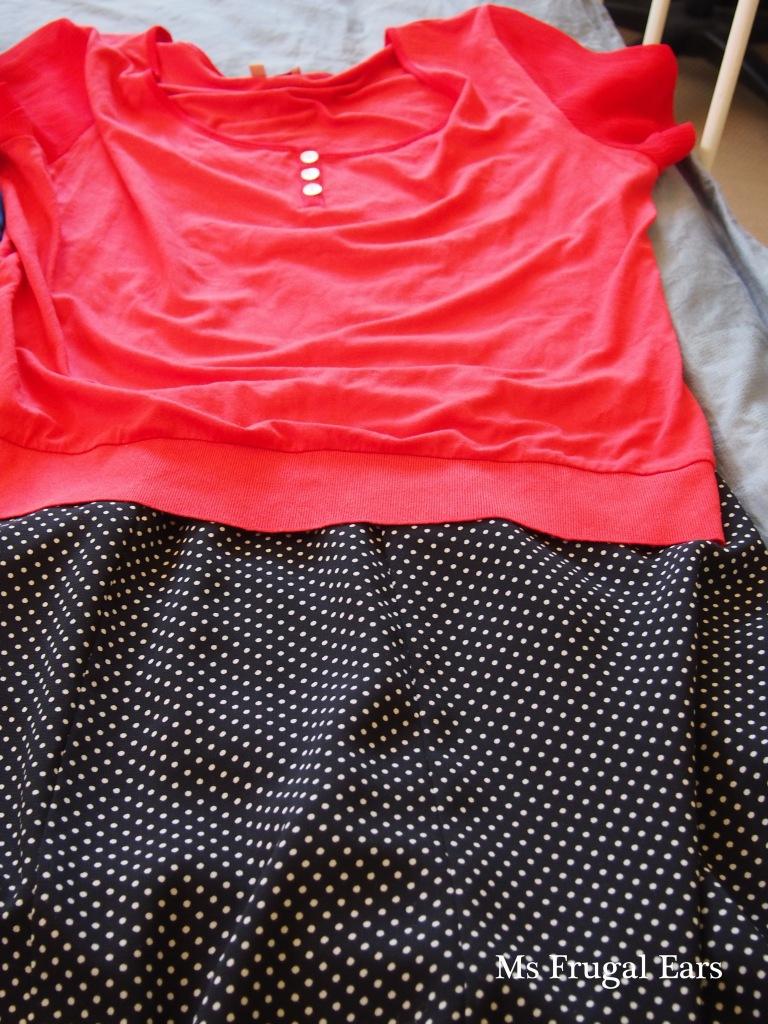 Top and polka dot skirt