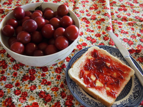 Ornamental plums and jam on bread