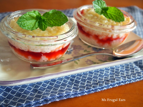 Two small plum puddings parfait style