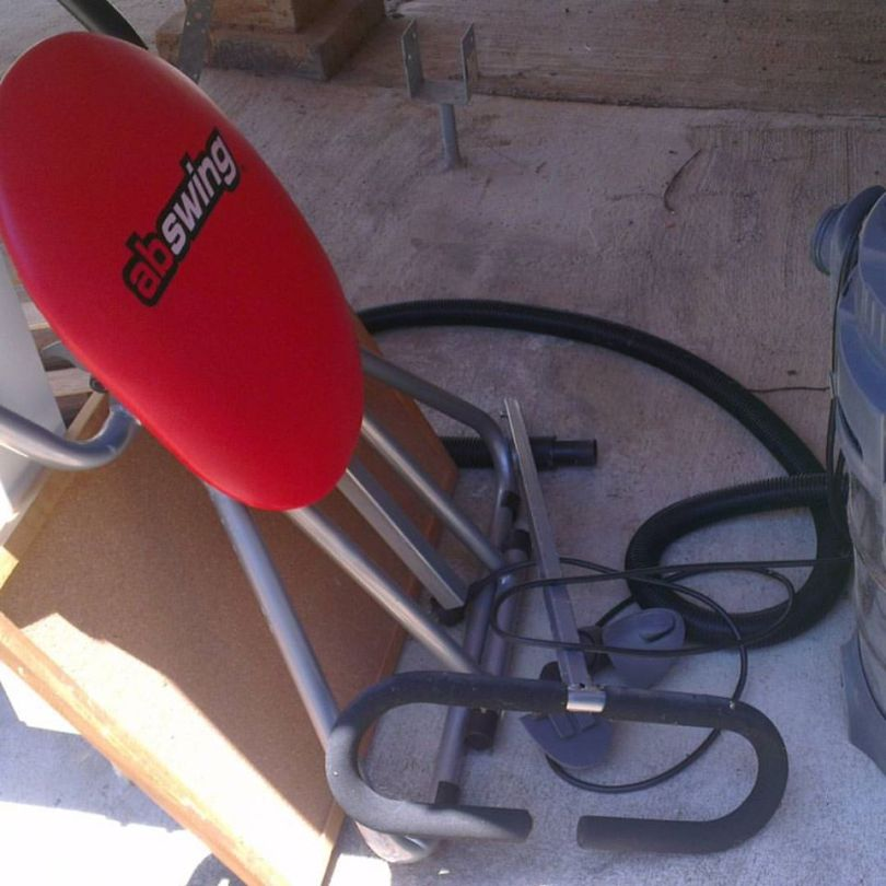 Pictures of sporting and other equipment from a shed
