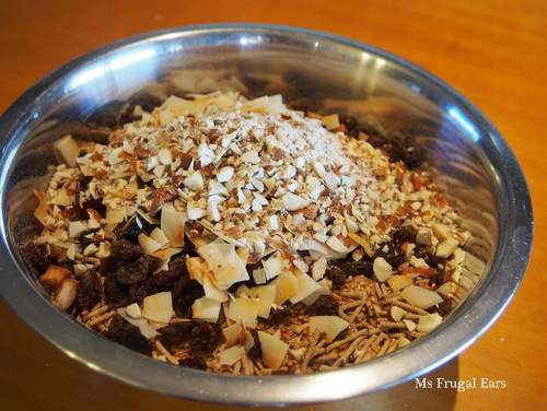 Ingredients on top of the rolled oats, waiting to be mixed together