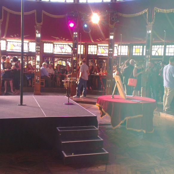 Inside the Spiegeltent - waiting for the performance to begin