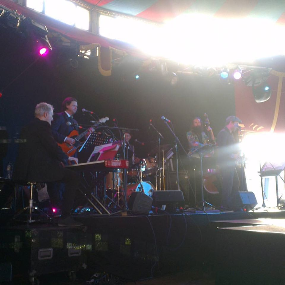 The Shuffle Club performing in the setting sun outside the Canberra Theatre Centre