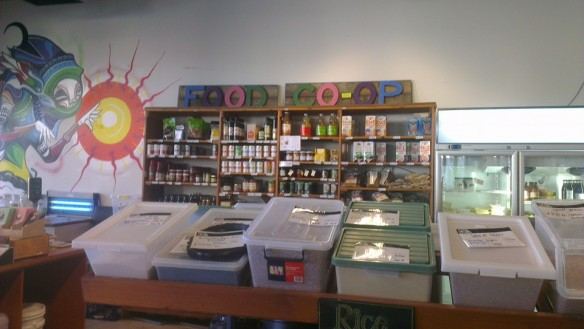 Plastic bins and staples for sale at the Food Co-op at Australian National University
