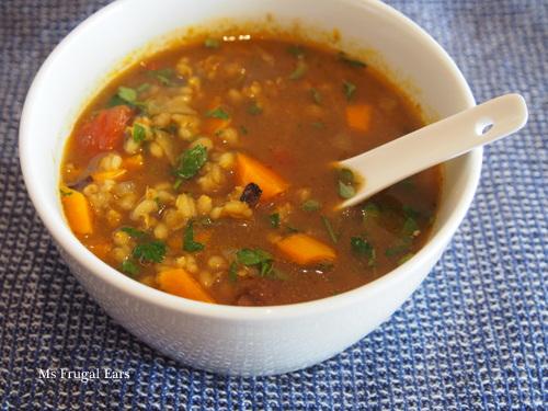 A bowl of warming lamb barley stew