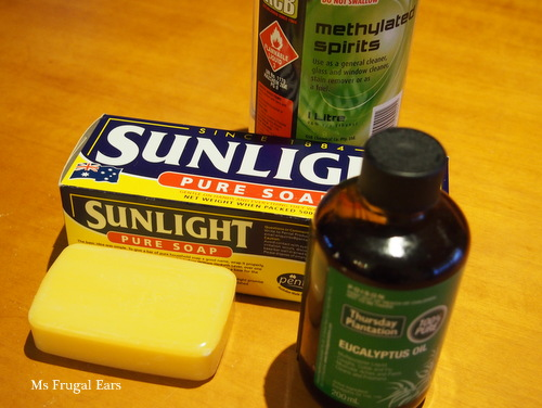 Metholated spirits, eucalyptus oil and pure soap