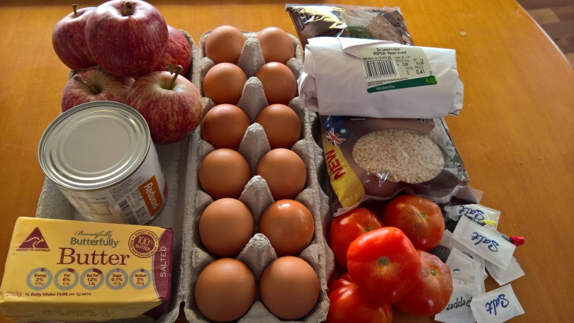 My ingredients for five days - doesn't include parsley or pumpkin