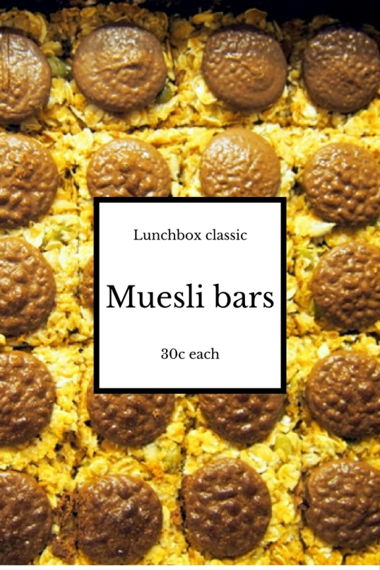 Pinterest graphic - muesli bars 30c each