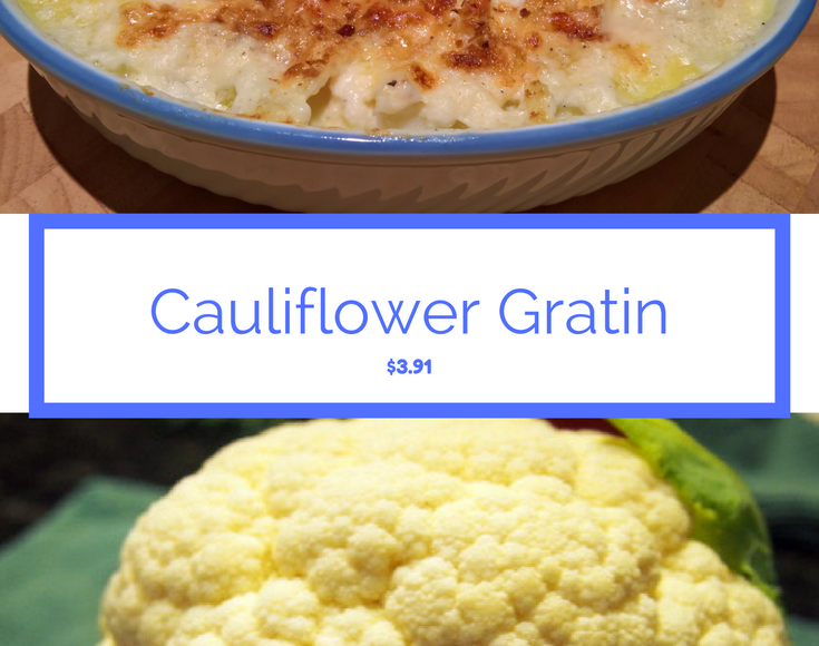 Pinterest style graphic with final bake and a cauliflower