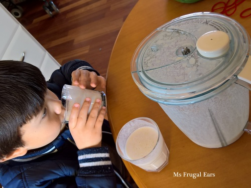 Enjoying a banana yoghurt smoothie as a late lunch