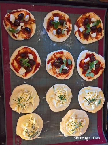 A plate of mini pizzas