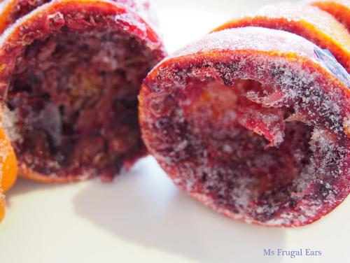 Frozen blood orange skins