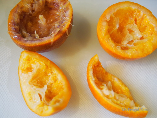 Orange skins after being boiled for 15 minutes