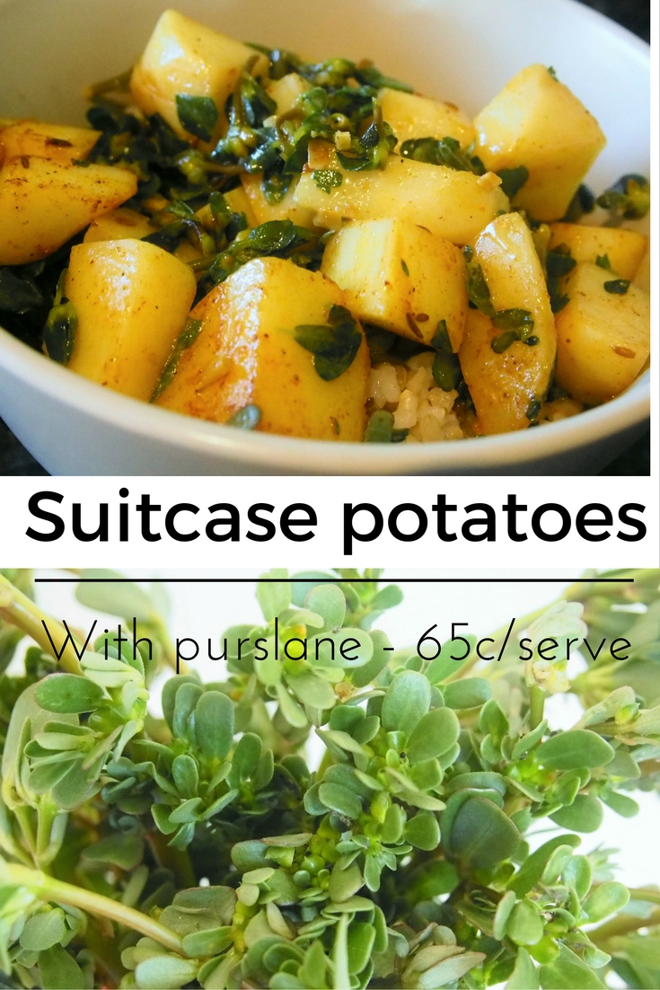 At only 65c a serve, suitcase potatoes with purslane is great value