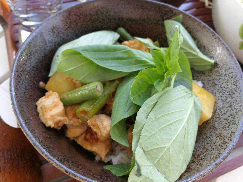 Thai pork red curry with basil