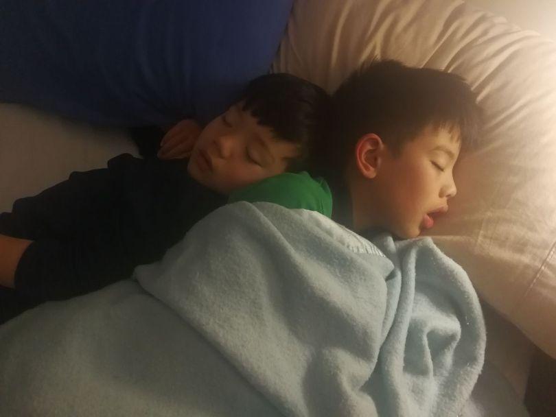 Two children asleep