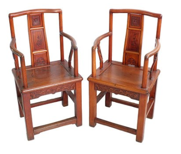 A pair of antique Chinese chairs