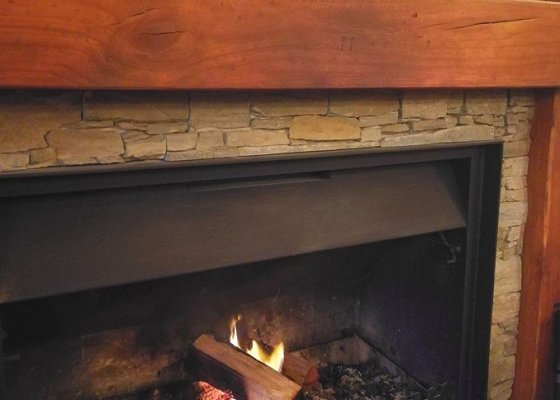 The fireplace at Piallago Estate's refurbished Farmhouse