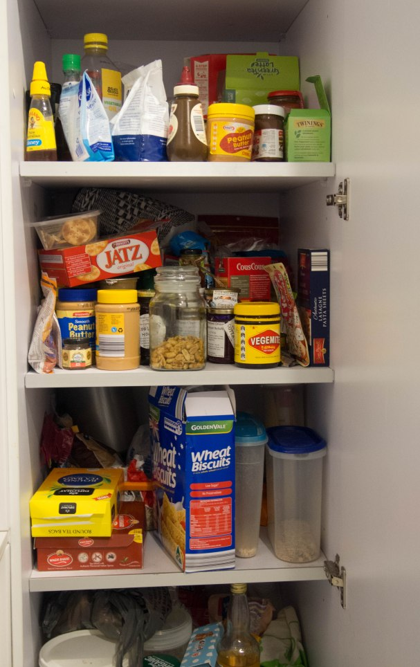 Cupboard full of food